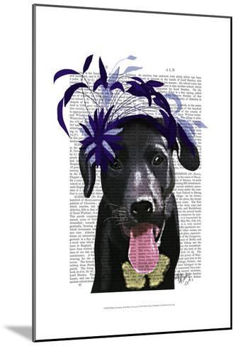Black Labrador With Blue Fascinator-Fab Funky-Mounted Art Print