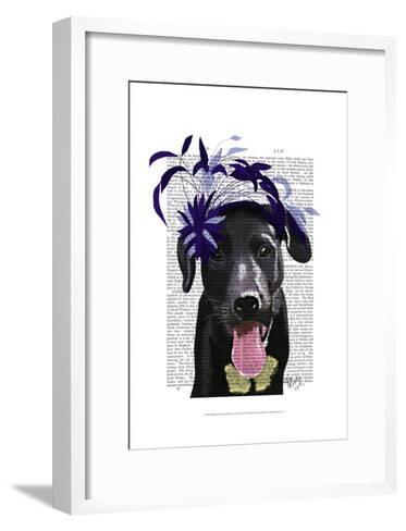 Black Labrador With Blue Fascinator-Fab Funky-Framed Art Print