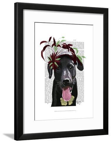 Black Labrador With Green Fascinator-Fab Funky-Framed Art Print
