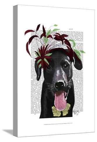 Black Labrador With Green Fascinator-Fab Funky-Stretched Canvas Print