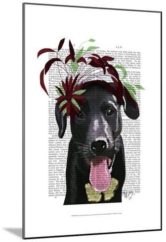 Black Labrador With Green Fascinator-Fab Funky-Mounted Art Print