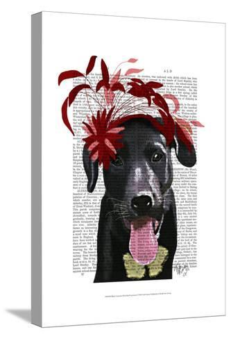 Black Labrador With Red Fascinator-Fab Funky-Stretched Canvas Print