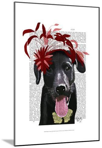 Black Labrador With Red Fascinator-Fab Funky-Mounted Art Print
