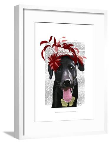 Black Labrador With Red Fascinator-Fab Funky-Framed Art Print