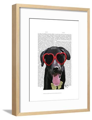 Black Labrador With Heart Sunglasses-Fab Funky-Framed Art Print