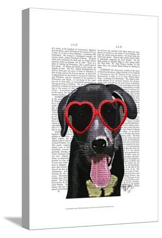 Black Labrador With Heart Sunglasses-Fab Funky-Stretched Canvas Print
