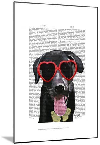 Black Labrador With Heart Sunglasses-Fab Funky-Mounted Art Print