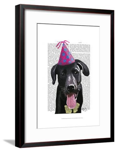 Black Labrador With Party Hat-Fab Funky-Framed Art Print