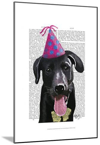 Black Labrador With Party Hat-Fab Funky-Mounted Art Print