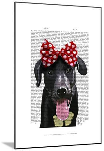 Black Labrador With Red Bow On Head-Fab Funky-Mounted Art Print