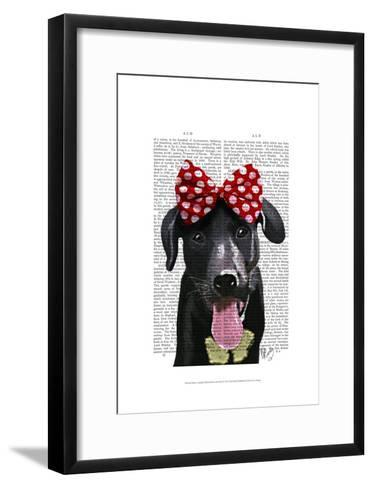 Black Labrador With Red Bow On Head-Fab Funky-Framed Art Print