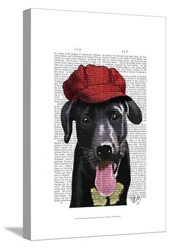 Black Labrador With Red Cap-Fab Funky-Stretched Canvas Print