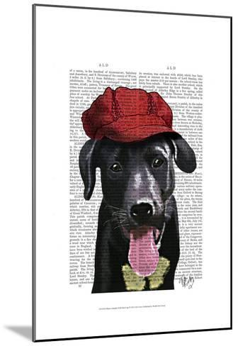 Black Labrador With Red Cap-Fab Funky-Mounted Art Print