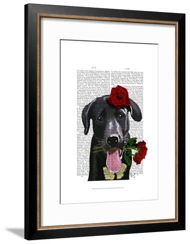 Black Labrador with Roses-Fab Funky-Framed Art Print