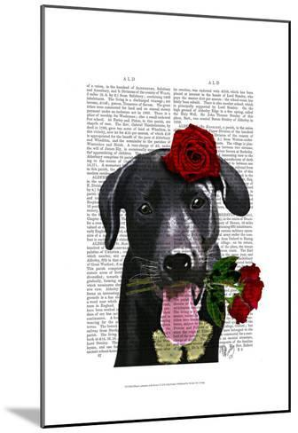 Black Labrador with Roses-Fab Funky-Mounted Art Print