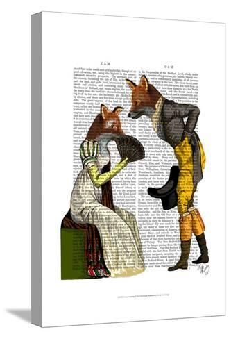 Foxes Courting-Fab Funky-Stretched Canvas Print