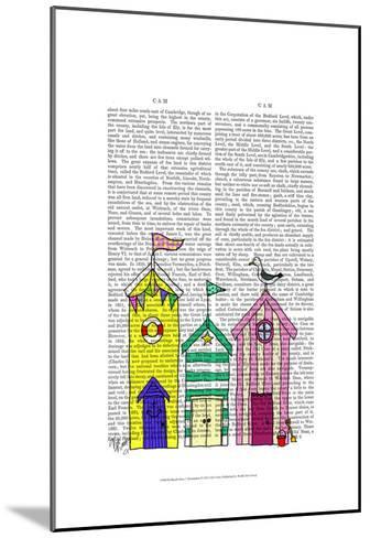 Beach Huts 1 Illustration-Fab Funky-Mounted Art Print