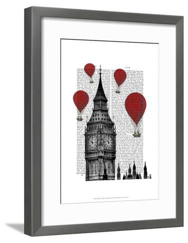 Big Ben and Red Hot Air Balloons-Fab Funky-Framed Art Print