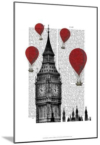 Big Ben and Red Hot Air Balloons-Fab Funky-Mounted Art Print