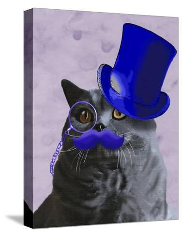 Grey Cat With Blue Top Hat and Moustache-Fab Funky-Stretched Canvas Print