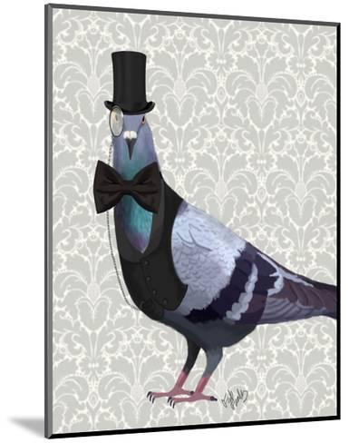 Pigeon in Waistcoat and Top Hat-Fab Funky-Mounted Art Print