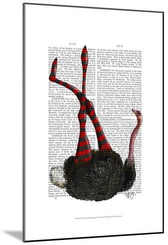 Ostrich with Striped Leggings-Fab Funky-Mounted Art Print