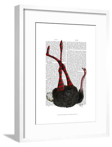 Ostrich with Striped Leggings-Fab Funky-Framed Art Print