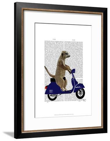 Meerkat on Dark Blue Moped-Fab Funky-Framed Art Print