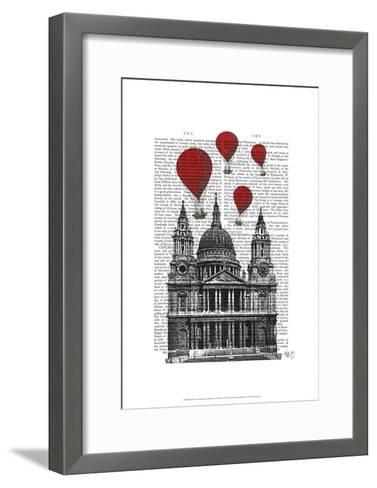 St Pauls Cathedral and Red Hot Air Balloons-Fab Funky-Framed Art Print