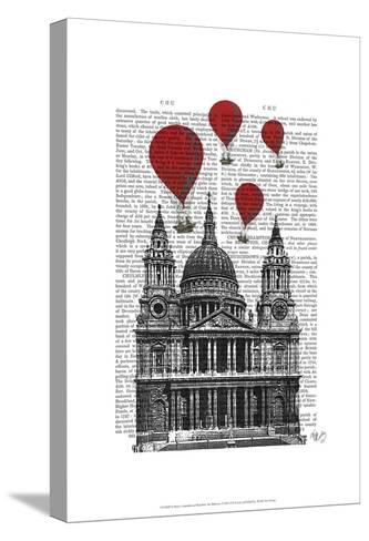 St Pauls Cathedral and Red Hot Air Balloons-Fab Funky-Stretched Canvas Print