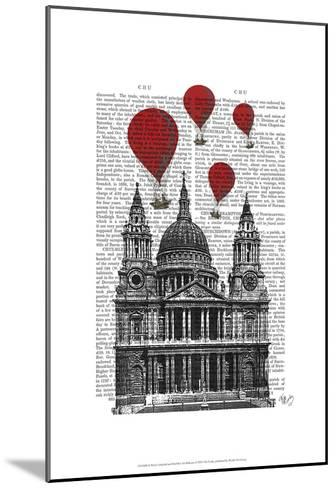St Pauls Cathedral and Red Hot Air Balloons-Fab Funky-Mounted Art Print