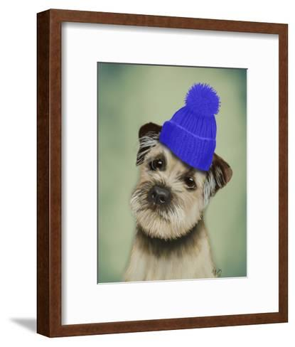 Border Terrier with Blue Bobble Hat-Fab Funky-Framed Art Print
