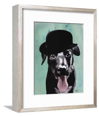 Black Labrador in Bowler Hat-Fab Funky-Framed Art Print