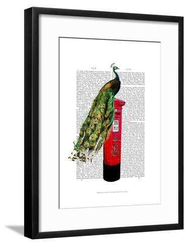 Peacock on Postbox-Fab Funky-Framed Art Print