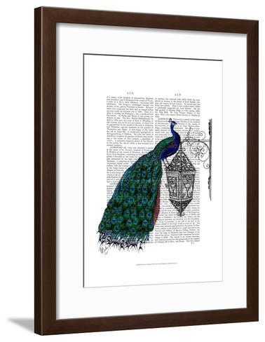 Peacock On Lamp-Fab Funky-Framed Art Print