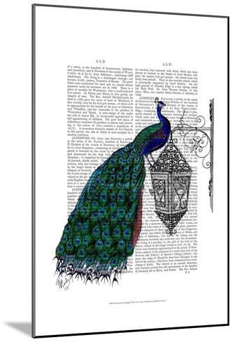 Peacock On Lamp-Fab Funky-Mounted Art Print
