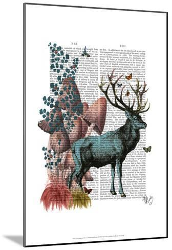 Turquoise Deer in Mushroom Forest-Fab Funky-Mounted Art Print