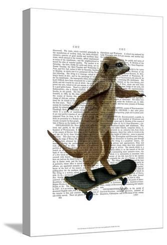 Meerkat On Skateboard-Fab Funky-Stretched Canvas Print