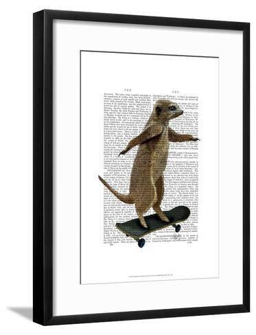 Meerkat On Skateboard-Fab Funky-Framed Art Print