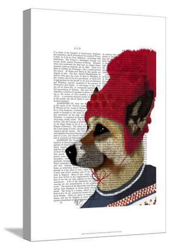 Dog in Ski Sweater-Fab Funky-Stretched Canvas Print