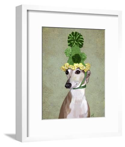 Greyhound in Green Knitted Hat-Fab Funky-Framed Art Print