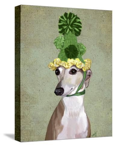 Greyhound in Green Knitted Hat-Fab Funky-Stretched Canvas Print