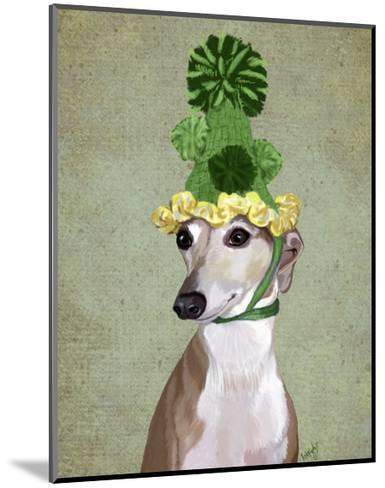 Greyhound in Green Knitted Hat-Fab Funky-Mounted Art Print