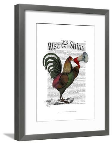 Rooster With Loudhailer-Fab Funky-Framed Art Print