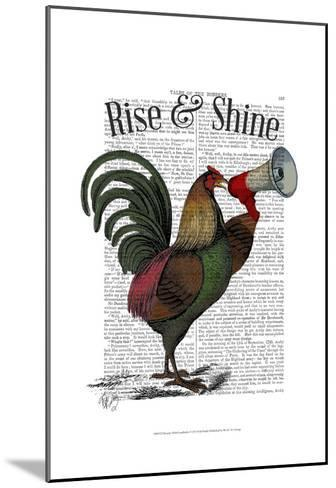Rooster With Loudhailer-Fab Funky-Mounted Art Print