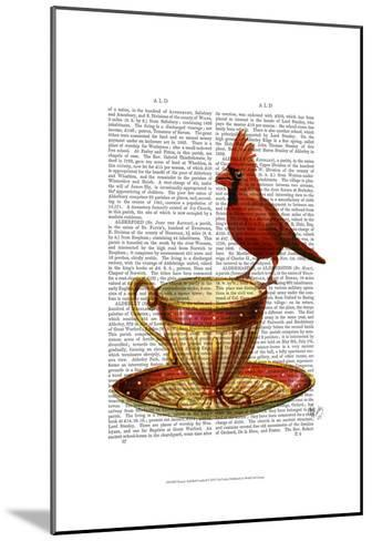 Teacup And Red Cardinal-Fab Funky-Mounted Art Print