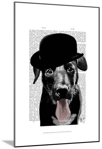 Black Labrador in Bowler Hat-Fab Funky-Mounted Art Print