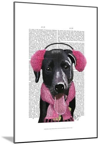 Black Labrador With Ear Muffs-Fab Funky-Mounted Art Print