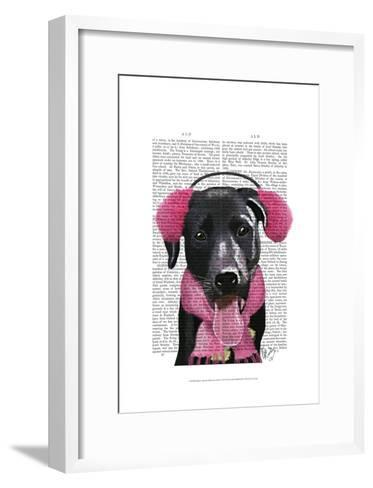 Black Labrador With Ear Muffs-Fab Funky-Framed Art Print