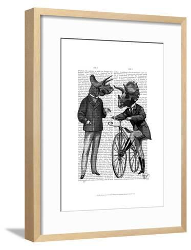 Triceratops Men What Kind of Mileage-Fab Funky-Framed Art Print